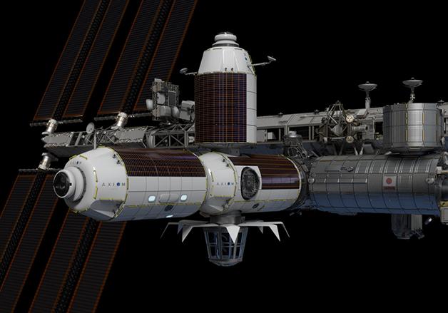 Uma nave da Axiom acoplada à Estação Espacial Internacional