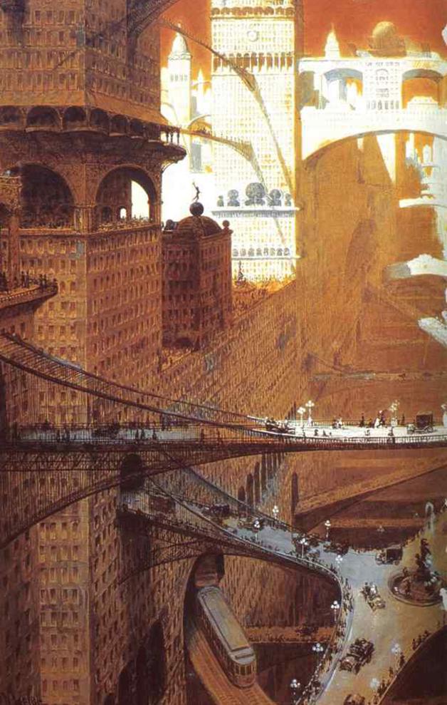 """A """"cidade visionária"""" imaginada por no quadro """"Visionary City"""", de 1908, de William Robinson Leigh"""