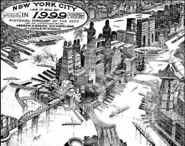 A Nova York de 1999, como imaginada por Louis Biedermann em 1900