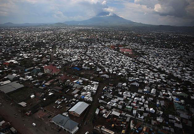 A cidade de Goma, à beira do Nyiragongo