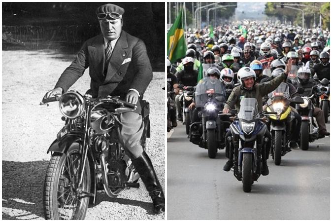 Mussolini, ditador fascista italiano, também desfilou de moto para demonstrar poder