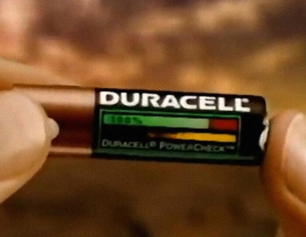 Pilha que mostra sua porcentagem de bateria