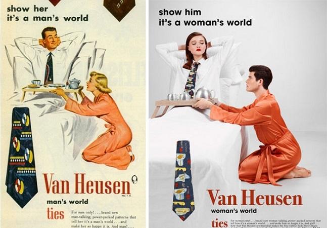 Propagandas machistas antigas têm papéis de gênero invertido em série sarcástica