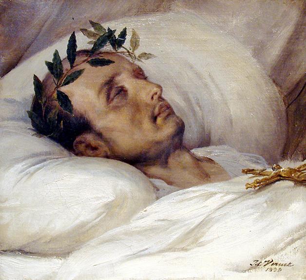 Esse quadro de Horace Vernet, pintado em 1826, mostra Napoleão em seu leito de morte