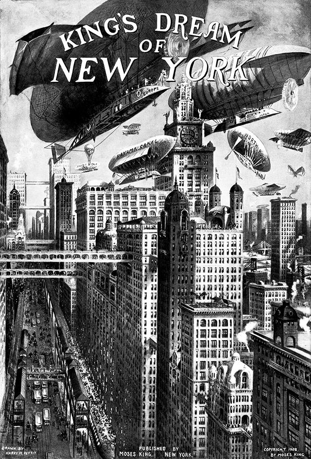 Ilustração de Moses King da Nova York do futuro