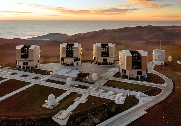 As quatro unidades telescópicas do VLT no Chile