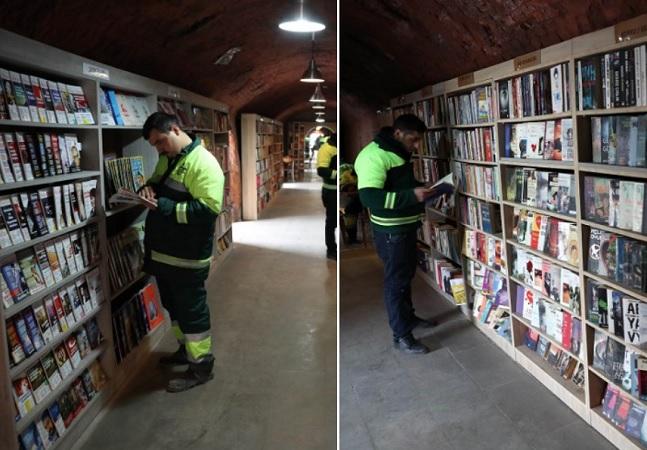 Livros jogados no lixo viram biblioteca comunitária criada por garis