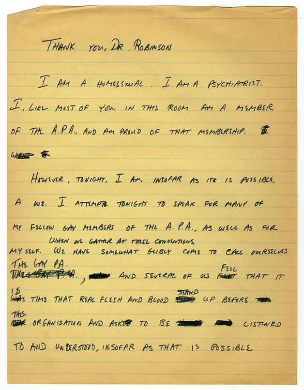Primeira página manuscrita lida por Fryer no discurso