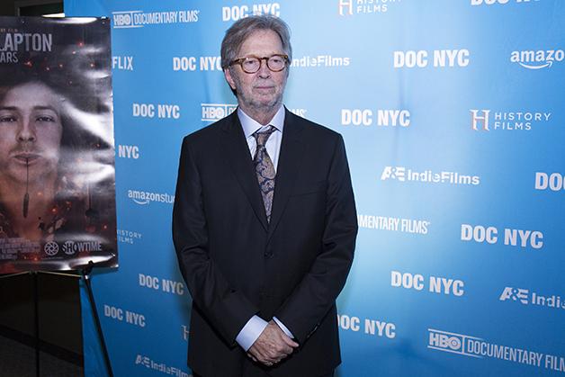 Eric Clapton no lançamento do documentário sobre sua vida em 2018, em Nova York