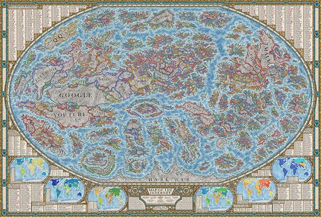 O mapa do mundo da internet em seus milhares de sites criado por Martin Vargic
