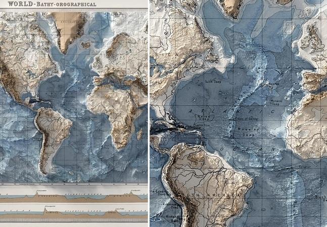 Mapas mais detalhistas do mundo retratam topografia dos continentes