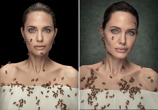 Angelina Jolie tira foto coberta de abelhas e fica três dias sem banho para o ensaio