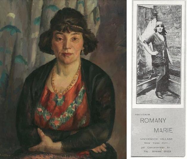 Um retrato e um cartão de Romany Marie