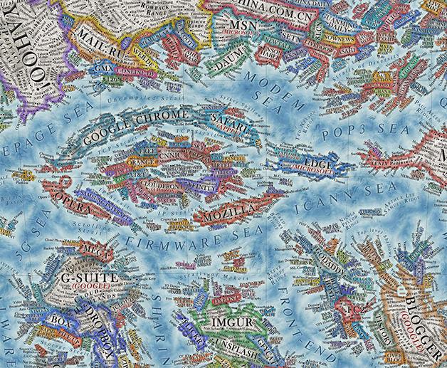 """O """"centro"""" do mundo com os navegadores e provedores no mapa de Vargic"""