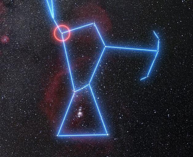 Posição de Betelgeuse na constelação de Orion