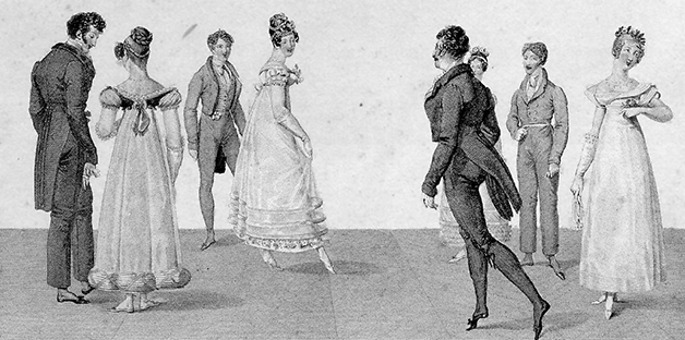 Desenho de Lebas, de 1820, mostrando as origens da dança de quadrilha nos salões da França