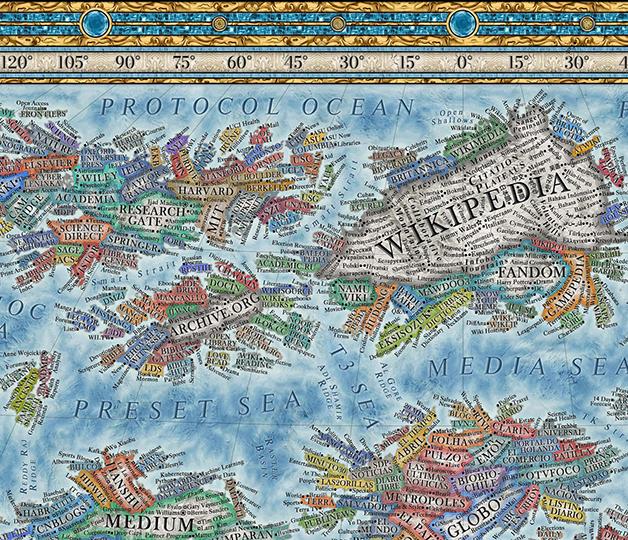 O Globo e a Folha no canto inferior direito do mapa