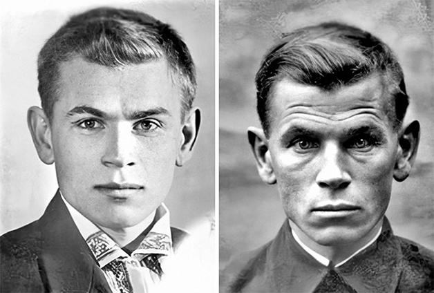 Antes e depois da Segunda Guerra do soldado soviético Eugen Stepanovich Kobytev: à esquerda, em 1941, no dia em que foi para a guerra, e à direita, em 1945, ao fim do conflito