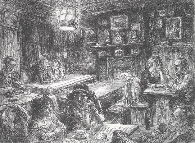 Gravura de John Sloans mostrando o interior de um restaurante de Marchand