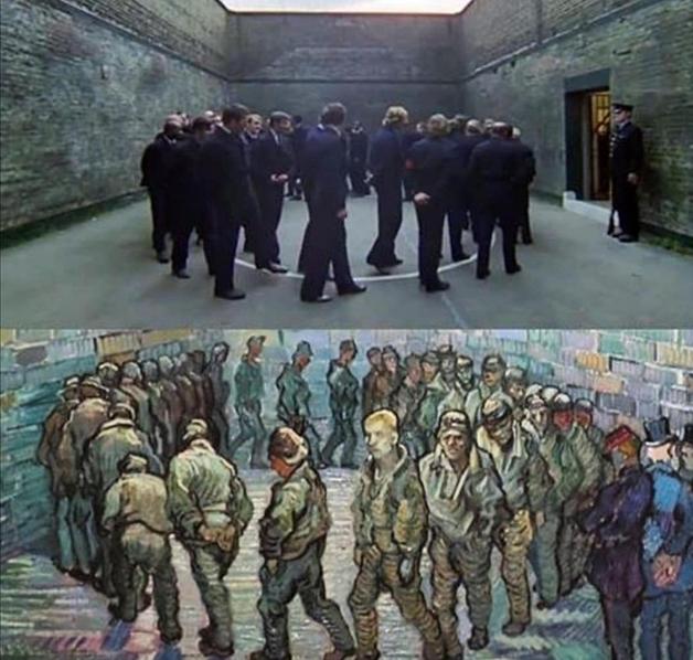 A comparação em detalhe entre a cena de Laranja Mecânica e o quadro de Van Gogh