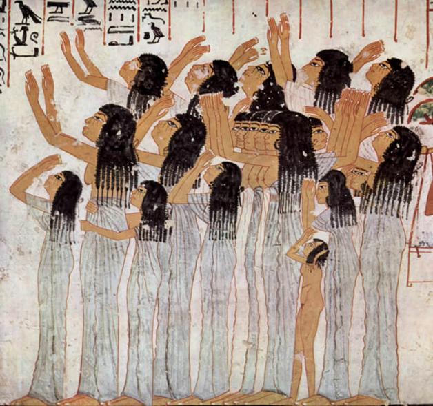 Carpideiras em registro do antigo Egito