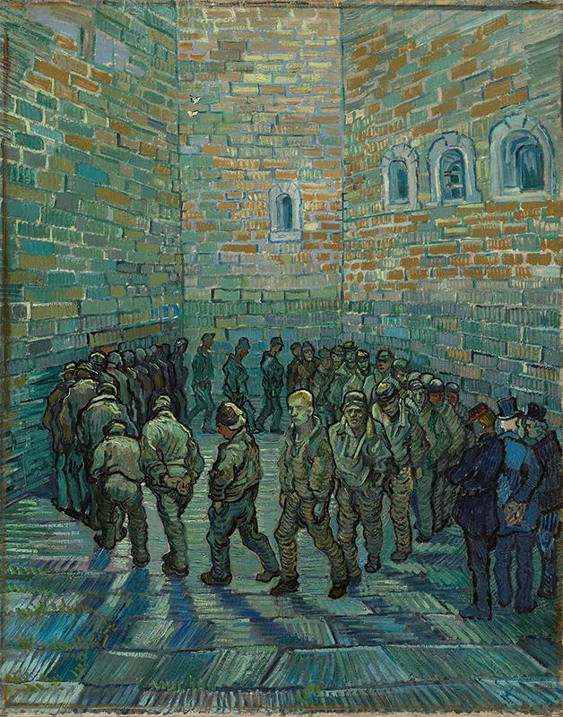 """""""Prisioneiros exercitando (após Gustav Doré)"""", pintado por Van Gogh em 1890"""