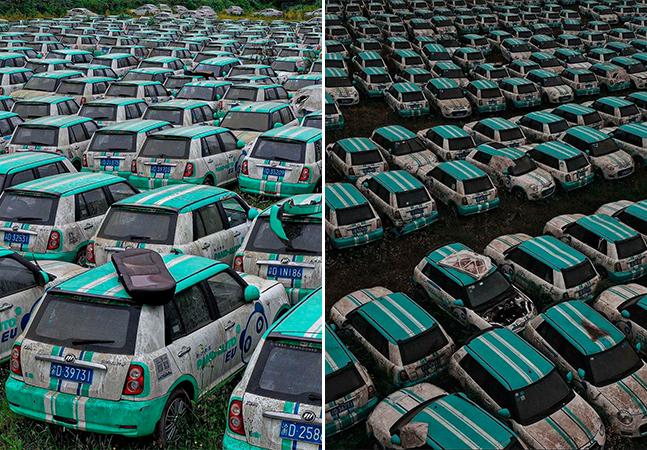 Cemitério de carros elétricos é descoberto na China após falência de empresa