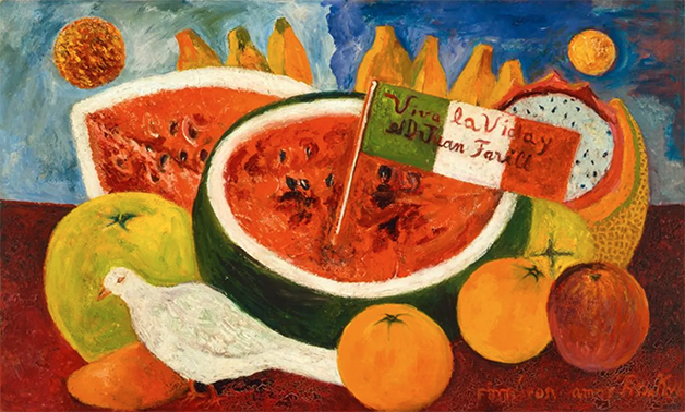 Natureza morta de 1953-54, mostrando a cultura mexicana na obra da artista