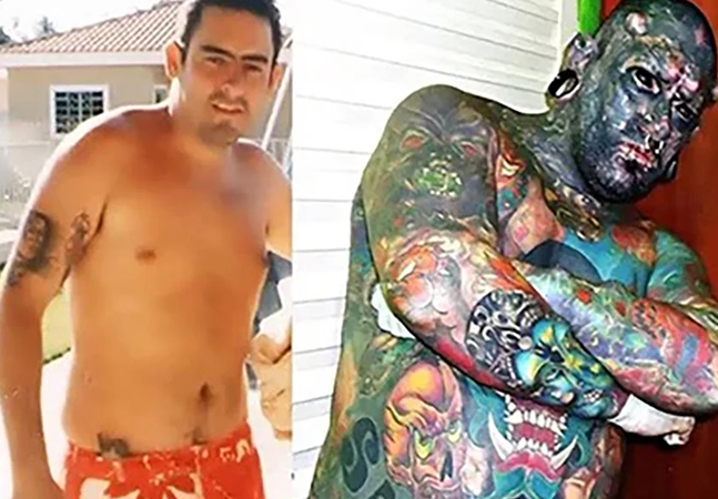 'Caveira', com 99% do corpo tatuado, diz que pais 'ficaram em choque'; ele quer rivalizar com Diabão