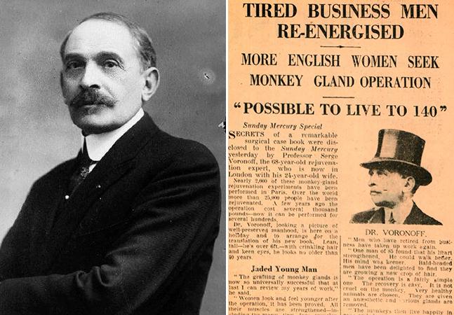 O médico que ficou rico e famoso nos anos 1920 transplantando testículos de macaco em homens