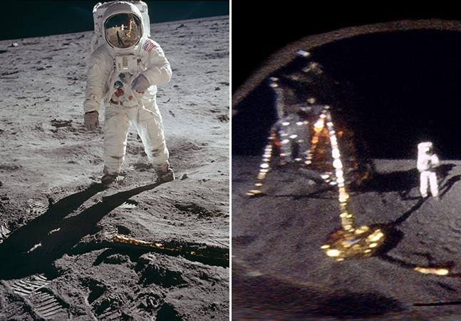 """Foto """"inédita"""" mostra a visão do astronauta Buzz Aldrin, da Apollo 11, na Lua 52 anos depois"""