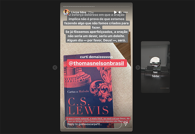 Gustavo Scarpa lendo C. S. Lewis
