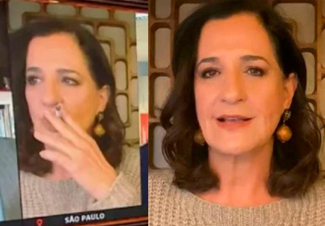 Mônica Waldvogel fuma ao vivo na Globo News e diz que 'sinal tinha caído'