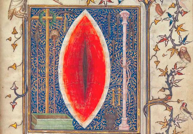 Como as imagens de uma das feridas de Cristo parecem vaginas em livros medievais