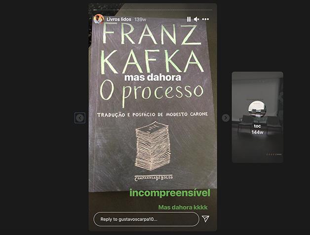 """Scarpa lendo """"O Processo"""", de Kafka"""