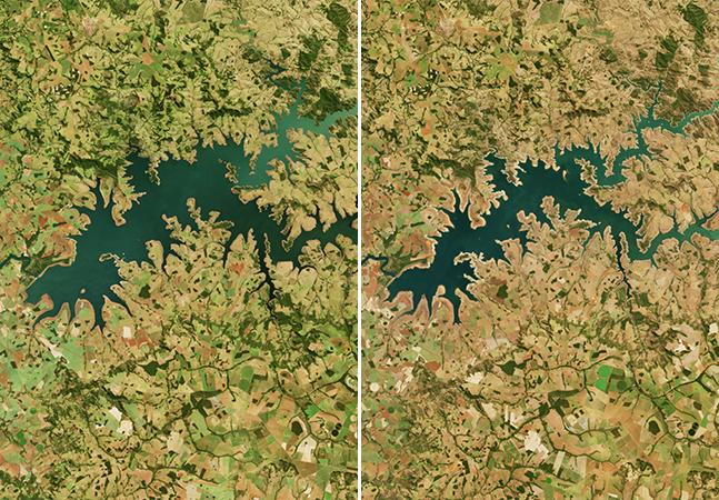 Satélite da NASA retrata pior seca do Brasil em um século