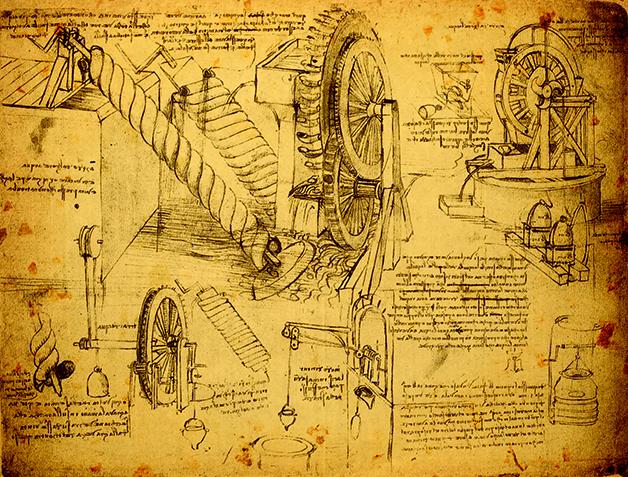 Página com estudos de engenharia de Da Vinci