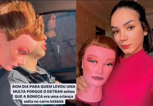 Modelo recebe multa no DF por carregar boneco sem cinto de segurança