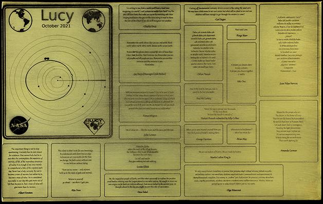 A placa completa que será enviada na missão LLucy