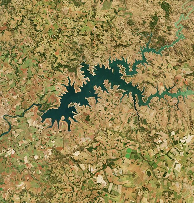 A região do Lago das Brisas, no rio Parnaíba, em registro de 2021 feito pela NASA
