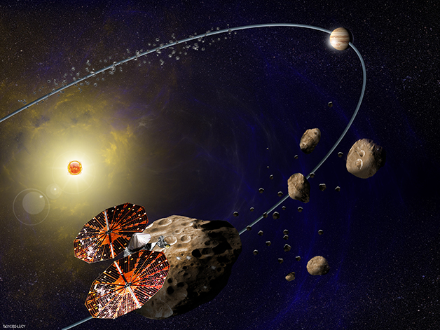 Criação artística da nave pousada sobre os asteróides de Júpiter
