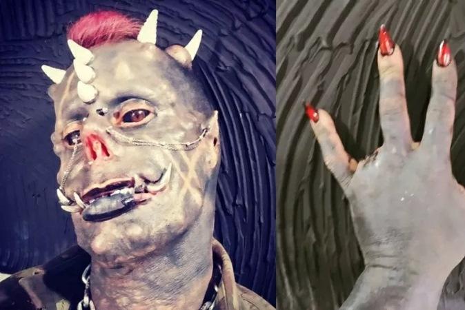 'Diabão Brasileiro': homem cria garra com dedo removido e coloca chifres