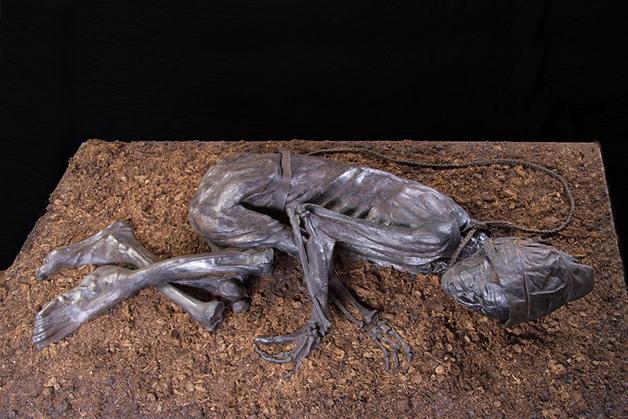 A réplica do Homem de Tollund mantida no museu dinamarquês