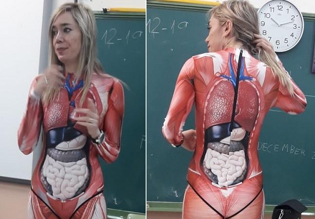 Professora arrasa dando aula de anatomia com roupa que mostra o corpo por dentro