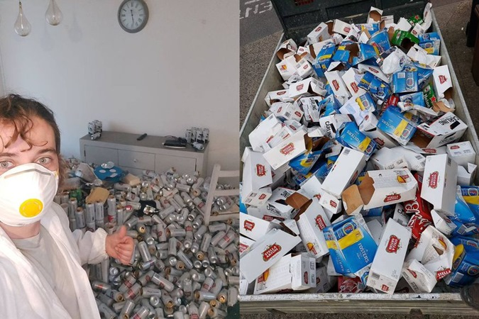 Homem despejado por não pagar aluguel deixa 8 mil latas de 'presente' em apartamento