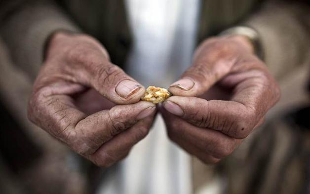 Minerador afegão com uma pequena pepita de ouro