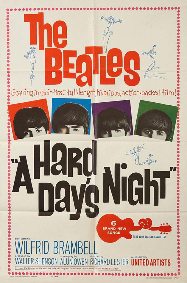"""Pôster de """"A Hard Day's Night"""", primeiro filme dos Beatles"""