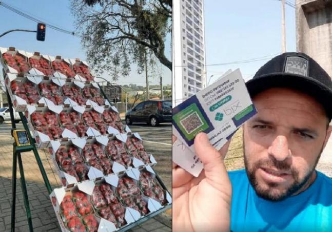 """Vendedor de morangos aumenta lucro com PIX e honestidade das pessoas: """"Confio em você"""""""
