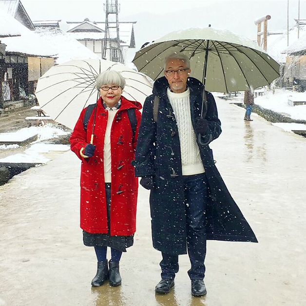 Sr. Bon e da Sra. Pon combinando roupas