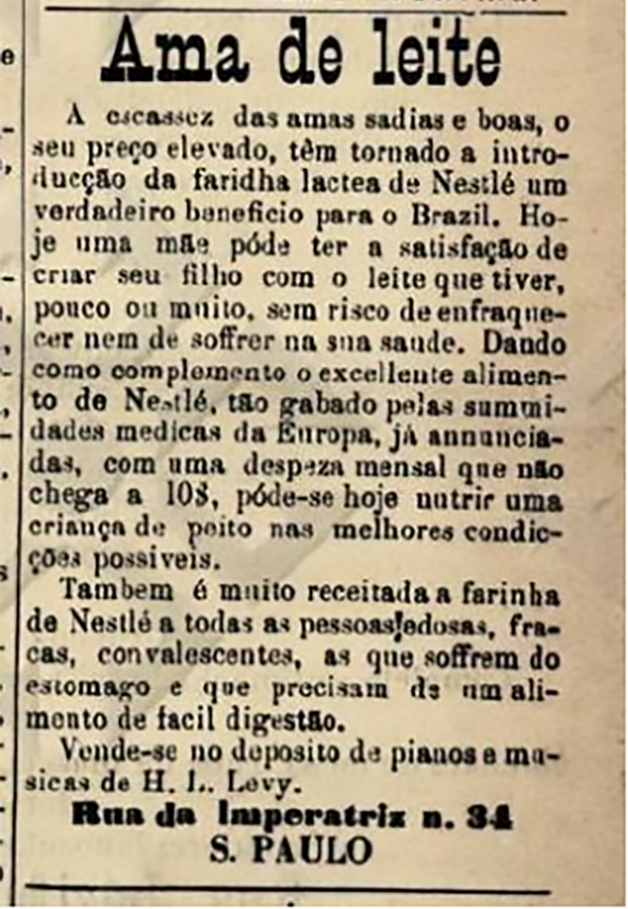 Anúncio publicado em abril de 1886